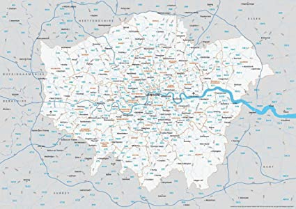 London Uk Postcode Map.Map Of Greater London Postcodes Poster Uk Britain Amazon Co Uk