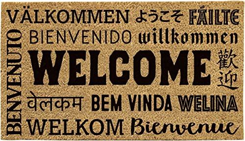 Evergreen Welcome Neighbor Natural Coconut Fiber Coir Floor Mat, 28 x 16 inches