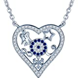 ab195d3439e00 SIXLUO Collier pour femme fille en argent 925 orné zircon Joli pendentif en  forme du cœur et Les motifs mignons Cadeau…