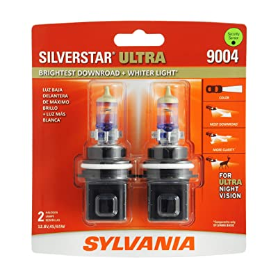 SYLVANIA - 9004 SilverStar Ultra - High Performance Halogen Headlight Bulb, High Beam, Low Beam and Fog Replacement Bulb, Brightest Downroad with Whiter Light, Tri-Band Technology (Contains 2 Bulbs): Automotive