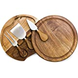 TOSCANA - a Picnic Time Brand Brie Acacia Wood Cheese Board Set with Cheese Tools