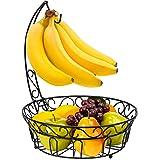 Best Choice Products Kitchen Countertop 2-Tier Metal Fruit Basket Stand w/ Detachable Banana Hanger