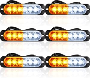 6 Pieces LED Emergency Strobe Lights Car Light Strobe Bars Surface Mount Amber Lights White Windshield Lights Bars Hazard Shiny Strobe Lights with Pads and Screws for off Road Truck Car Decor