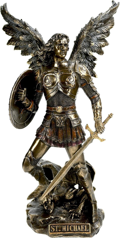 Veronese statua arcangelo michele con spada e scudo bronzo VV708-4700