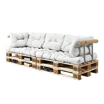[en.casa] Euro Paletten-Sofa - DIY Möbel - Indoor Sofa mit Paletten-Kissen  / Ideal für Wohnzimmer - Wintergarten (2 x Sitzauflage und 5 x ...