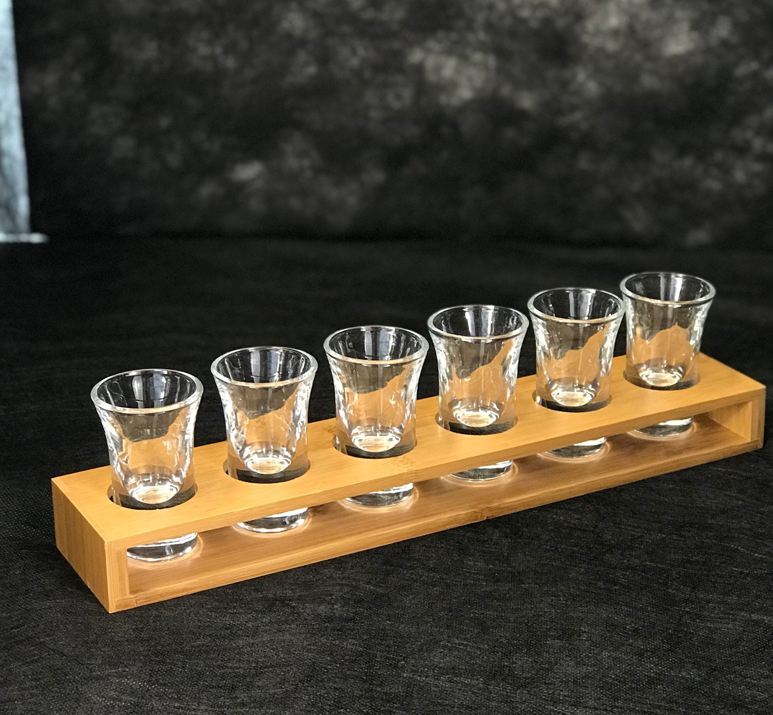 Shot Glasses cup Heavy Glass With Wood Cup Holder Set For Tequila Whiskey & others (6 Glasses With Holder)