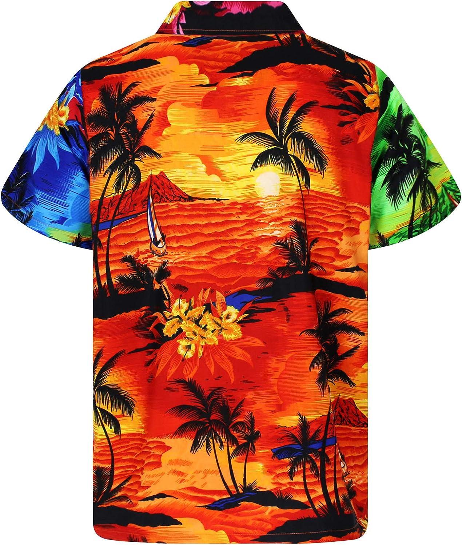 XS Disegni da Surf Unico V.H.O Maniche Corte Stampa Hawaiana Tasca Frontale 6XL Funky Camicia Hawaiana da Uomo