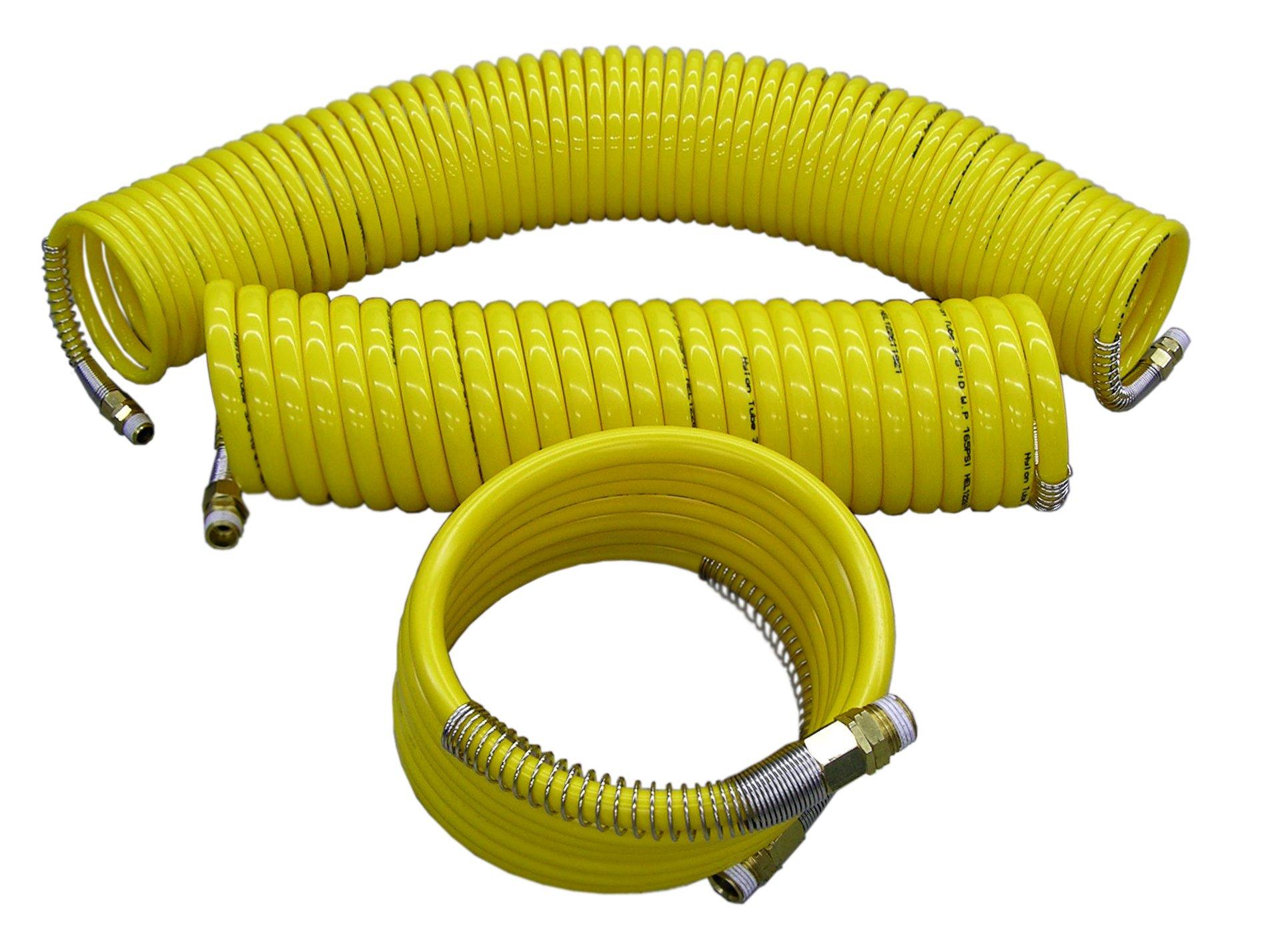 ATP  Nylon Spiral Hose, Yellow, 1/2'' ID, 12 feet Total Length/10 feet Working Length, 1/2'' NPT Male