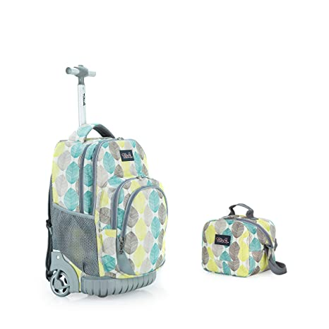 bd5d096fc329 Tilami New Antifouling Design 18 Inch Wheeled Rolling Backpack Luggage &  Lunch Bag,Leaves 1