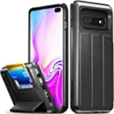 Vena Galaxy S10 Plus Wallet Case, [vCommute] [Military Grade Drop Protection] Flip Leather Cover Card Slot Holder Compatible with Galaxy S10 Plus - Space Gray (PC) / Black (TPU) / Black (Leather)
