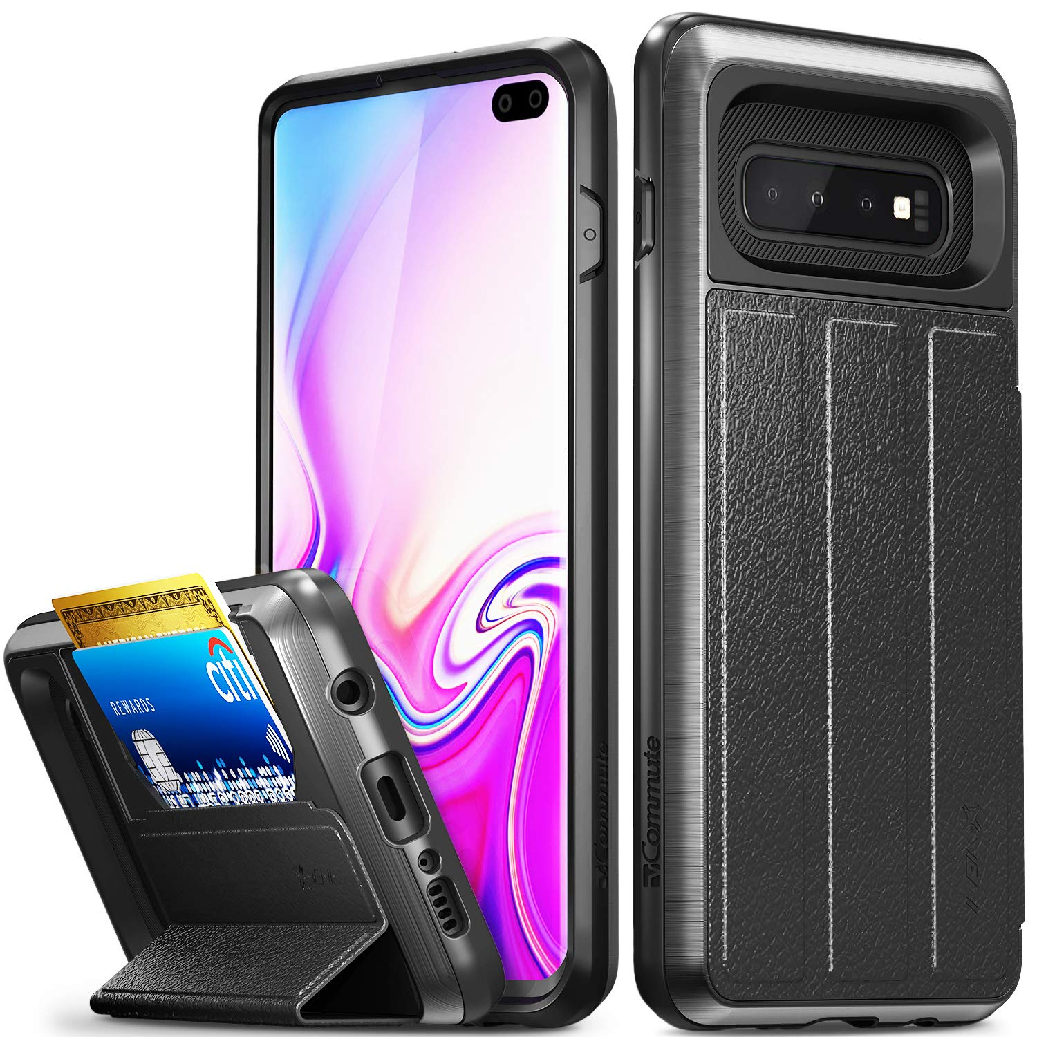 Vena Galaxy S10 Plus Wallet Case, [vCommute] [Military Grade Drop Protection] Flip Leather Cover Card Slot Holder Compatible with Galaxy S10 Plus - Space Gray (PC) / Black (TPU) / Black (Leather) by Vena