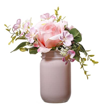 Amazon v more pink glass mason jar flower vase artificial silk v more pink glass mason jar flower vase artificial silk flowers bouquet in acrylic faux mightylinksfo