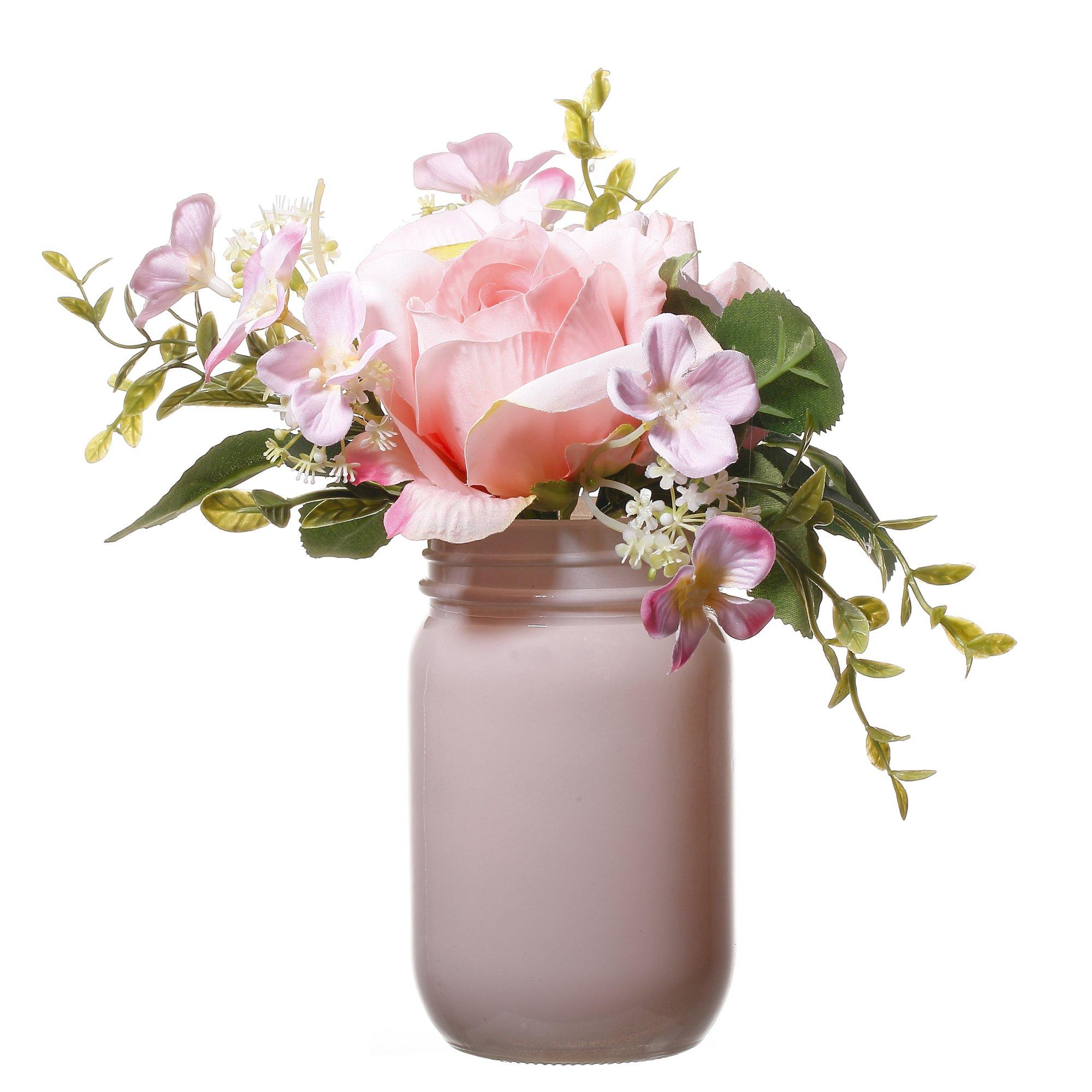 V more pink glass mason jar flower vase artificial silk flowers v more pink glass mason jar flower vase artificial silk flowers bouquet in acrylic faux water mightylinksfo