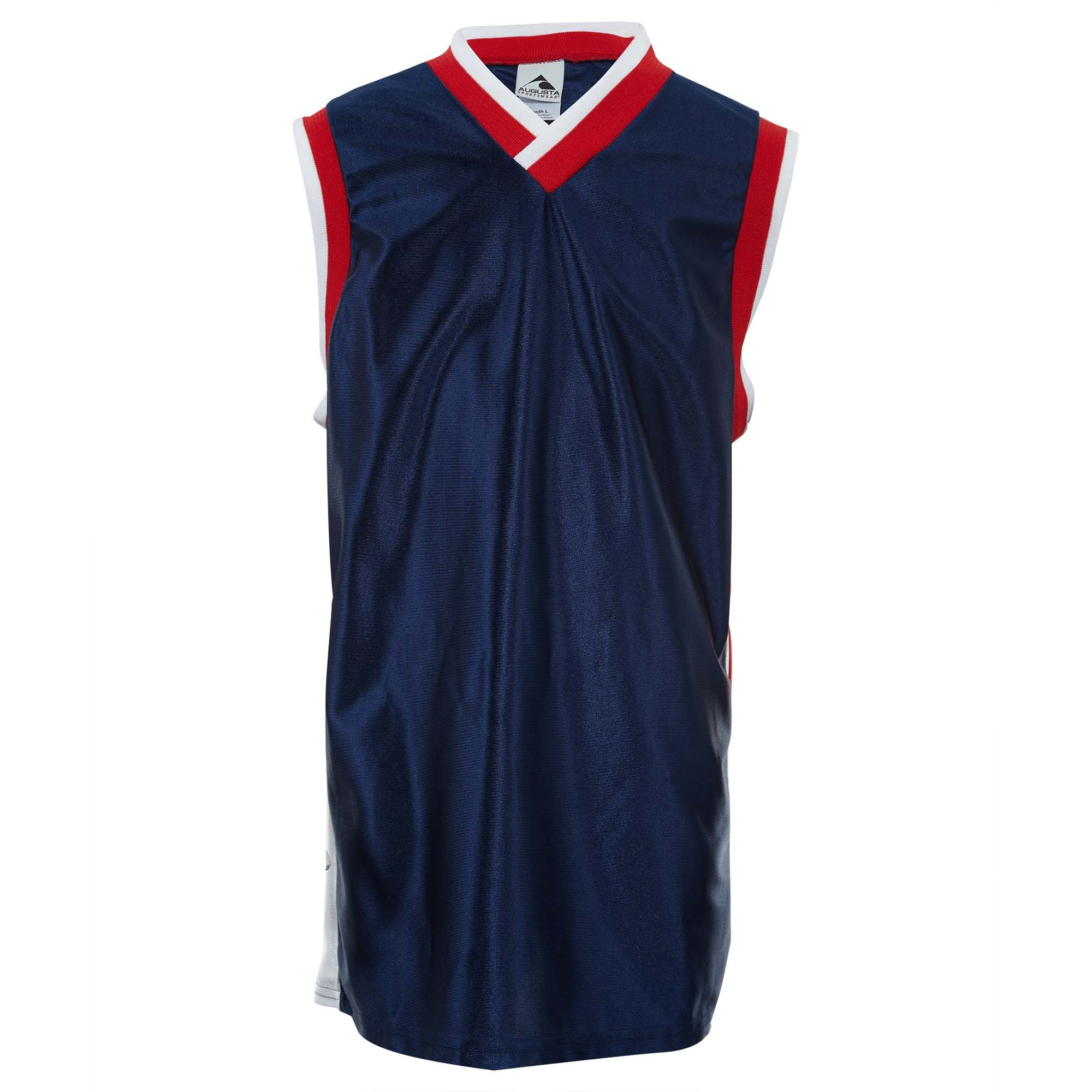 Augustia Sportswear Youth Tri-Color Dazzle Sleeveless Basketball Game Jersey Big Kids Style: 778-118 NV/WH/RD Size: L by Augustia