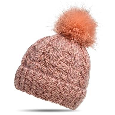 2eab8b9ea7c058 CASPAR MU144 Damen warme Winter Strick Mütze mit Fellbommel,  Farbe:altrosa;Größe:
