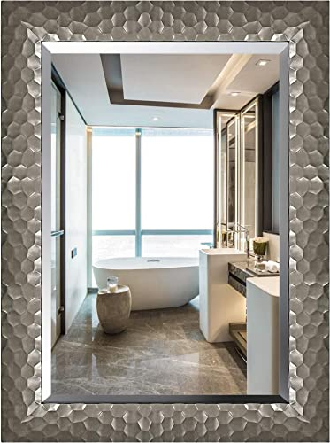 Large Rectangular Wall Silver Mirror with 1-Inch Bevel and Premium Rectangle Frame for Bathroom, Living Room, Bedroom or Vanity Hangs Horizontal or Vertical Silver Gray