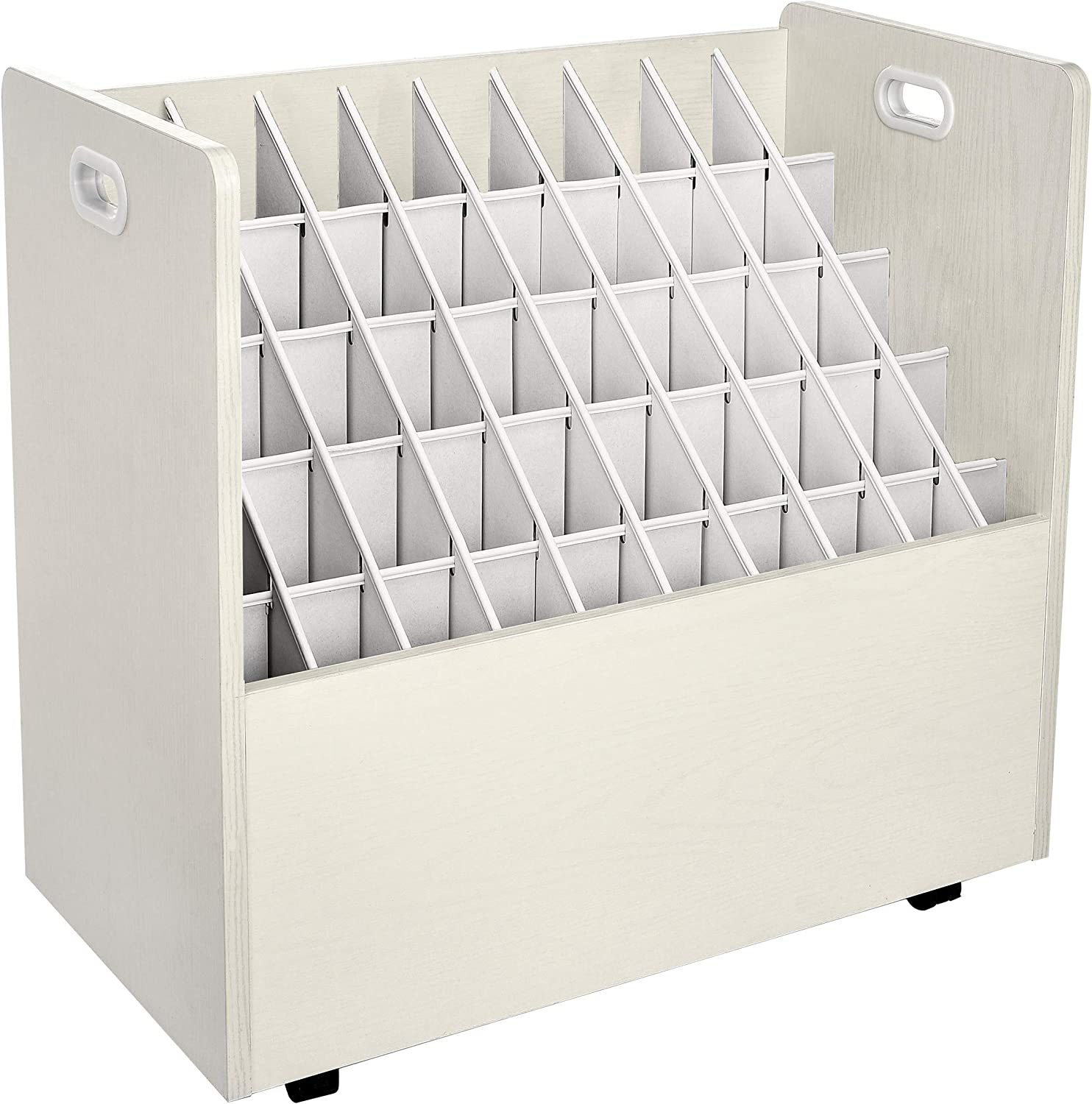 AdirOffice Mobile Wood Blueprint Roll File - Sturdy, Heavy Duty Large Document Organizer - Convenient Storage for Home Office or School Use (50 Slots, White)