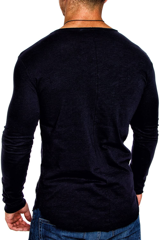 4f4ee3682aad0b Amaci   Sons Oversize Herren Longsleeve Vintage Sweatshirt V-Neck Basic V-Ausschnitt  Shirt 6060