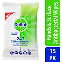 Dettol 2 in 1 Hands & Surfaces Anti-Bacterial Wipes (Count of 15)