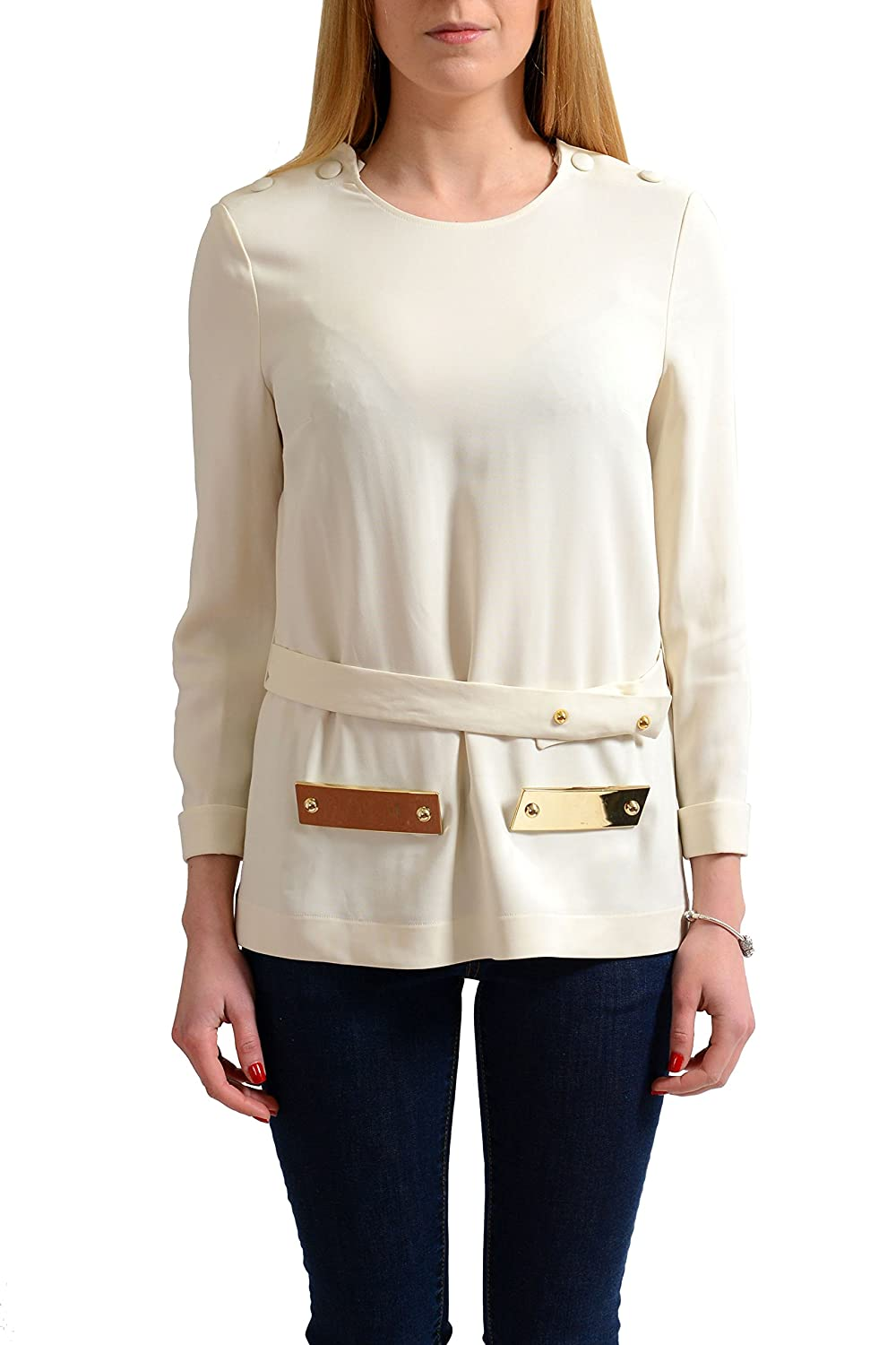 Just Cavalli Women's Cream Beige Long Sleeve Blouse Top US S IT 40