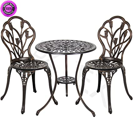 DzVeX Cast Aluminum Patio Bistro Furniture Set in Antique Copper And patio  furniture home depot patio - Amazon.com: DzVeX Cast Aluminum Patio Bistro Furniture Set In