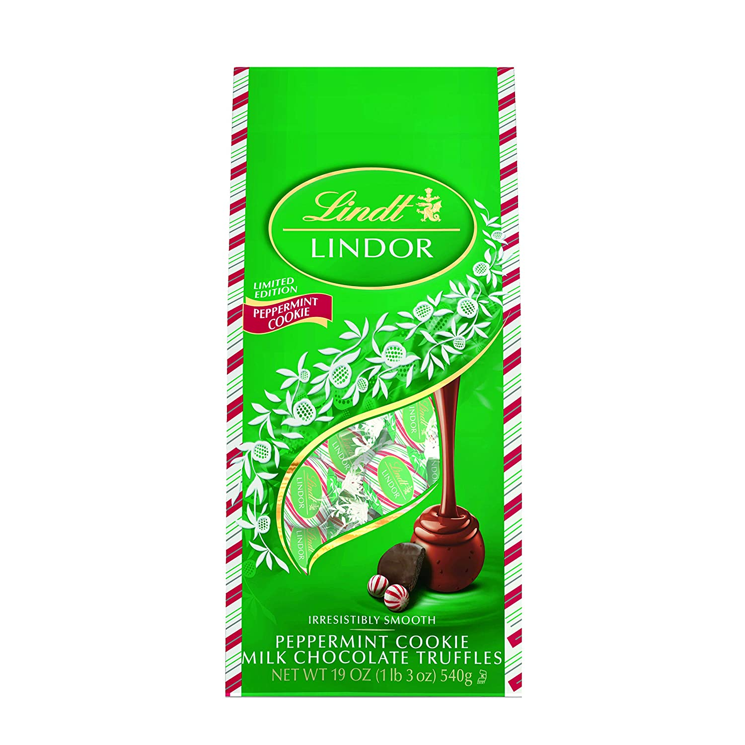 Lindt LINDOR Holiday Milk Peppermint Cookie Truffle Gift Bag, Kosher, Great for Holiday Gifting, 19 Ounce