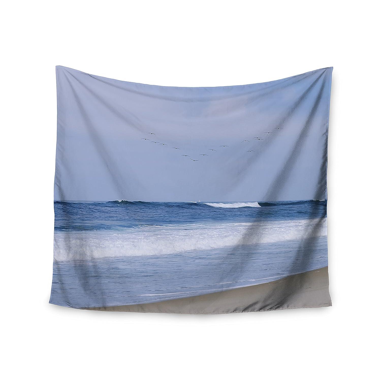 68 x 80 Wall Tapestry Kess InHouse Nick Nareshni Seagulls On The Beach Blue White