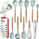 Kitchen Utensils Set - 20 Silicone Cooking Utensils for Non-stick Cookware. Wood Kitchen Utensils. Silicone Spatula Wooden Sp