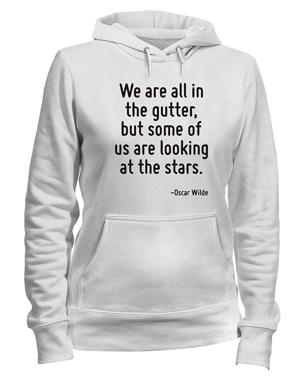 Speed Shirt Felpa Donna Cappuccio Bianca CIT0246 We Are all in The Gutter But Some of US Are Looking AT The Stars