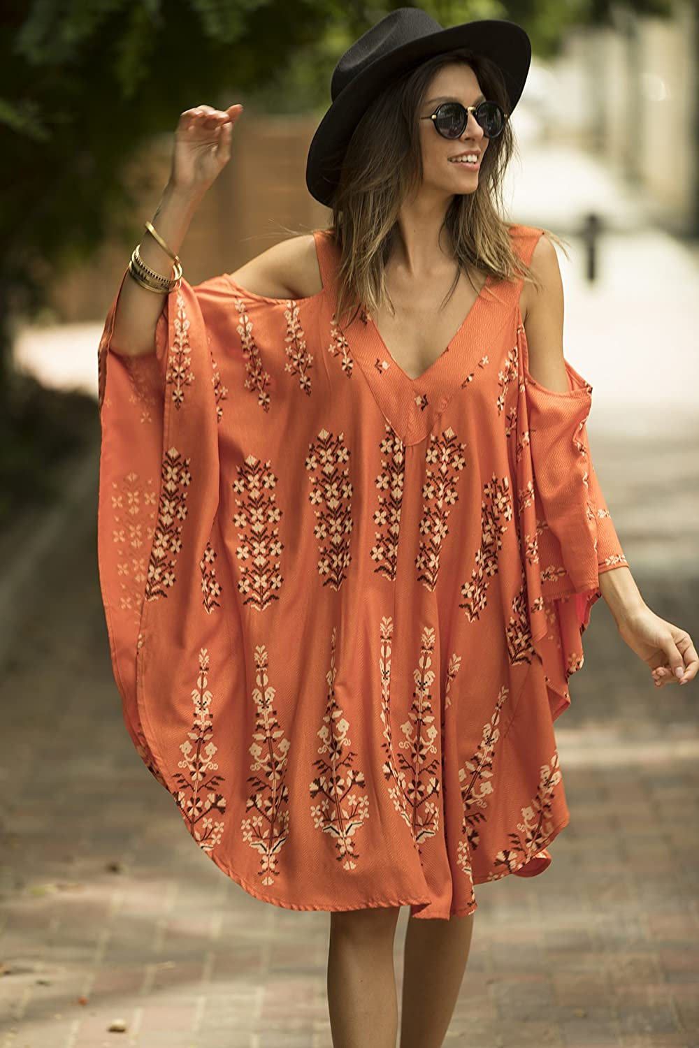 Oversized Moroccan Caftan, Short Orange Kaftan, Open Shoulder, Hippie Ethnic Women Holiday Beach Dress, Boho Convertible Dress