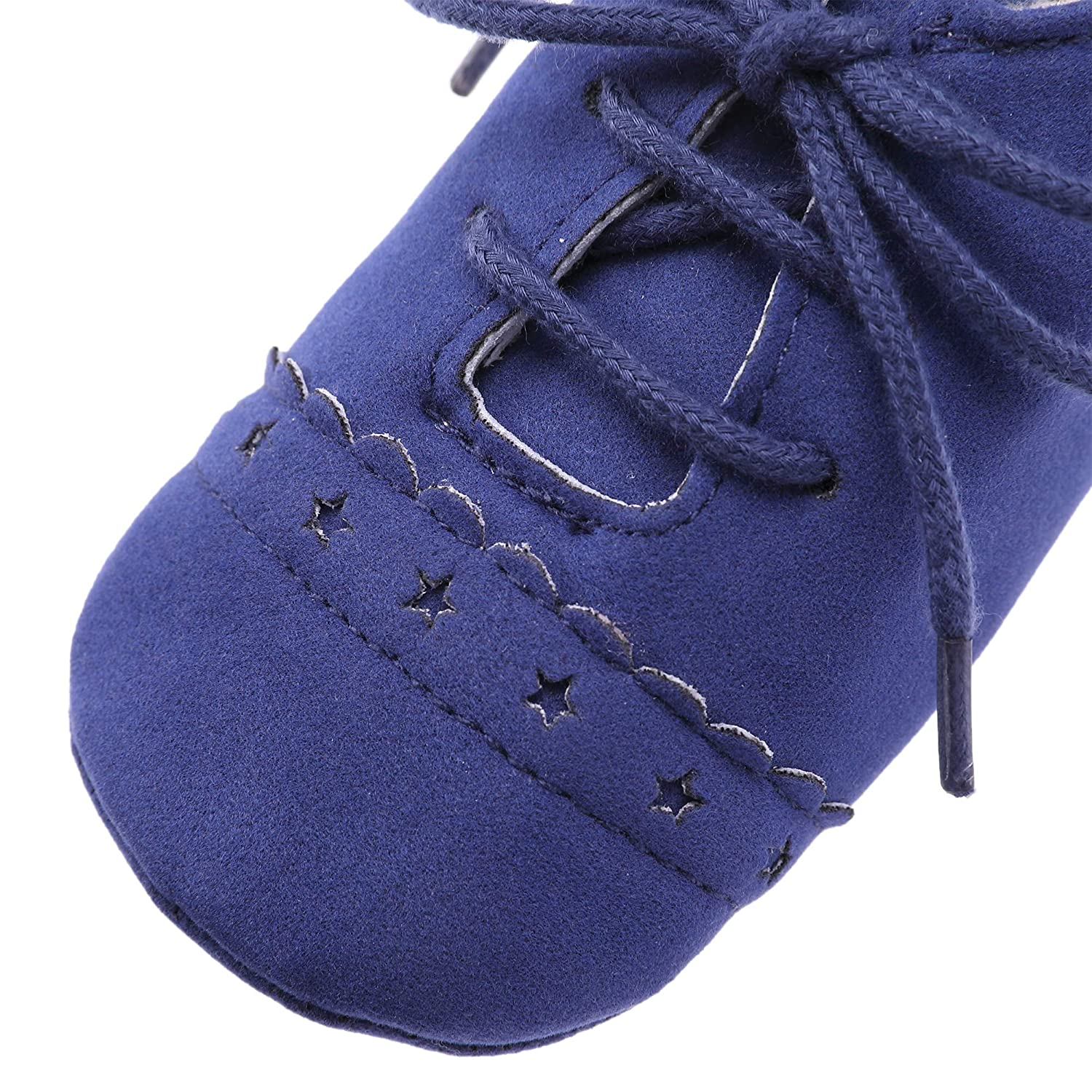 SCOWAY Baby Girls Boys Suede Shoes Lace-up Soft Sole Moccasins Slippers Infant Todddler First Walkers Crib Shoes