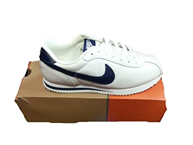 nike cortez basic leather 06 mens walking shoes white light zen grey  316418; nike cortez basic leather white navy uk size 6 eur 40