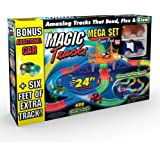 Ontel Products Magic Tracks Mega Super Pack Bonus Set, 3 Led Race Cars, 24' Flexible, Glow in The Dark Racetrack…