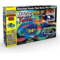 Ontel Products Magic Tracks Mega Super Pack Bonus Set, 3 Led Race Cars, 24' Flexible, Glow in The Dark Racetrack, Multicolored
