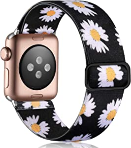 Vcegari Elastic Band Compatible with Apple Watch 38mm Series 3 2 1, Breathable Stretchy Loop Wristband for iWatch 40mm SE Series 6 5 4 Women Men, Daisy