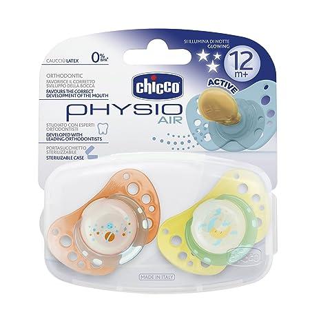 Chicco 72725410000 - Pack de 2 chupetes de caucho, esterilizados, fosforescente, color naranja y amarillo