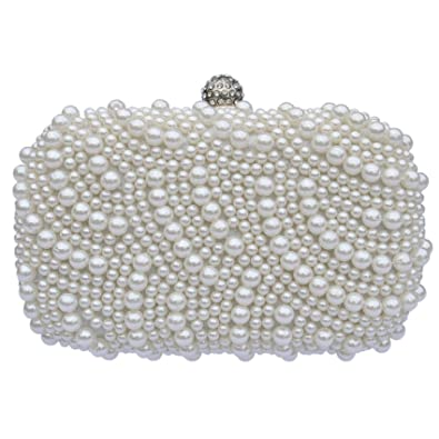 Beaded Pearl Clutch Evening Bag Comes Gift Boxed An Ideal Present (Ivory)
