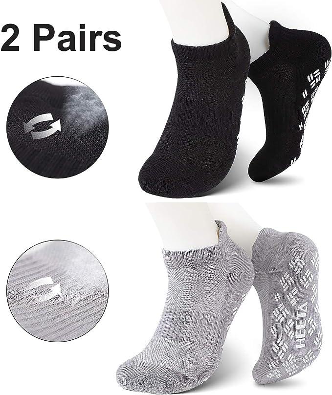 HEETA 2-Pair Yoga Socks for Women, Non-Slip Socks with Grip for Pilates, Ballet, Dance and Fitness, Black & Grey