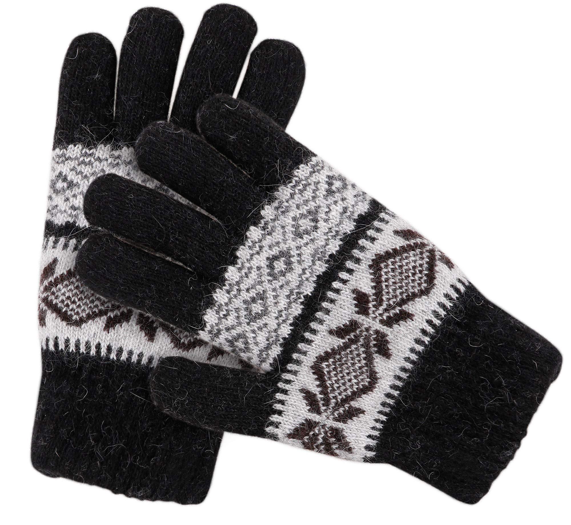 Knit Mittens Women S Winter Snowflake Sherpa Lined Gloves