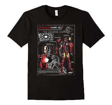Mens Iron Man Armor Plated Suit Blue Print Schematic T Shirt 2XL Black