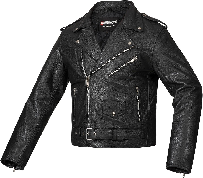 Bohmberg Premium- Chaqueta pesada de motociclista 100% cuero duradero para hombre - L