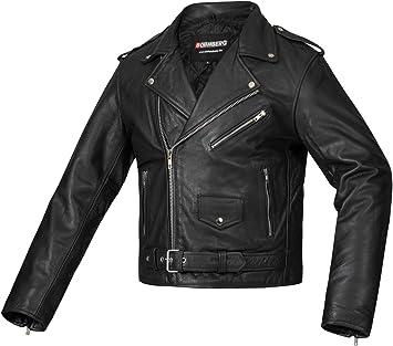 TALLA XL. Bohmberg Premium- Chaqueta pesada de motociclista 100% cuero duradero para hombre - XL