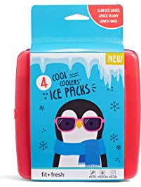 Fit & Fresh Cool Coolers Slim Lunch Ice Packs, Multicolored