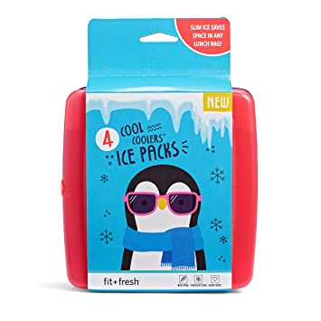 Fit & Fresh Cool Coolers Slim Reusable Ice Packs For Lunch Boxes, Lunch Bags And Coolers, Set Of 4, Multicolored by Fit & Fresh