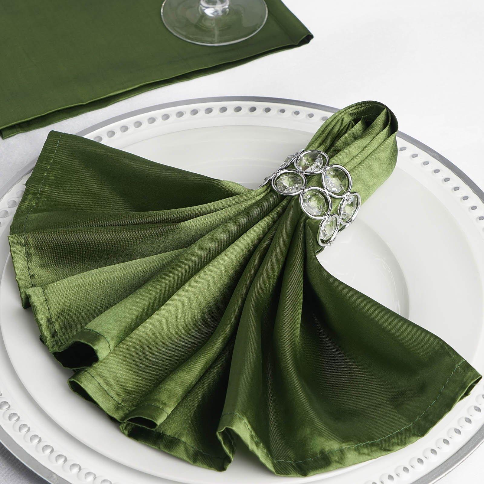 Efavormart 20''x20'' Moss/Willow Wholesale Satin Linen Napkins for Wedding Birthday Restaurant Party Tableware Decoration - 5 PCS
