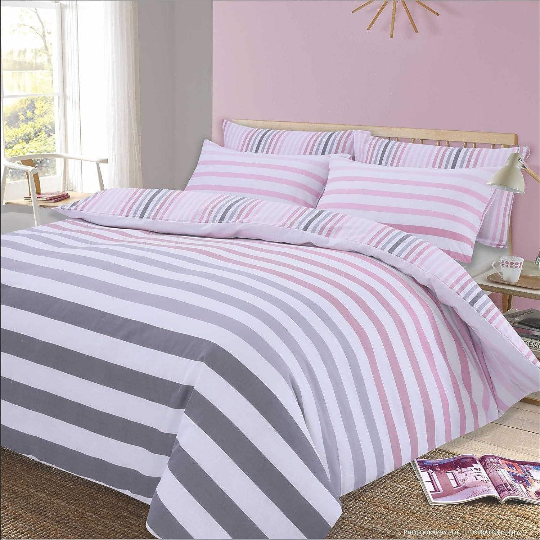 Dreamscene - Juego Reversible de Funda nórdica y Funda de Almohada para Cama Doble, diseño de Rayas, Color Rosa Degradado y Blanco