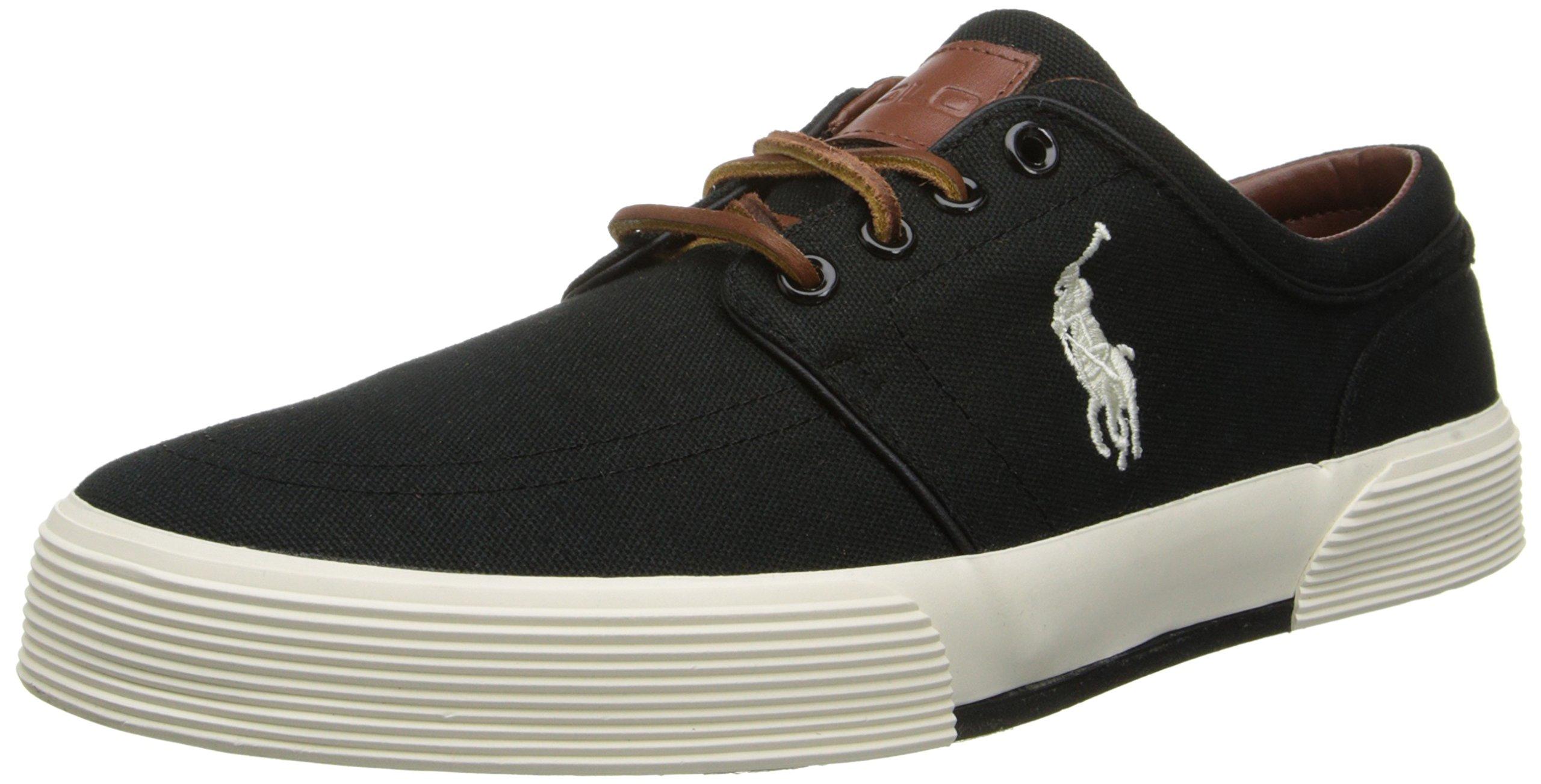 Polo Ralph Lauren Men's Faxon Low Sneaker,Polo Black/Cream,8.5 D US