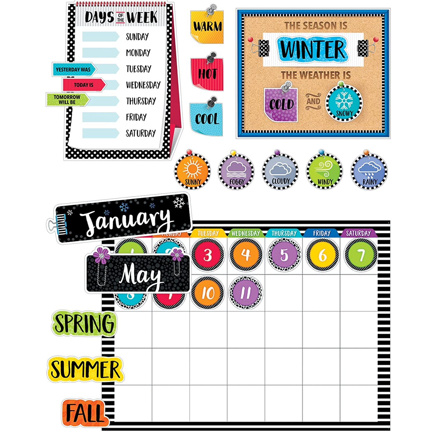 Bold & Bright Calendar Set Bulletin Board, CTP 3998
