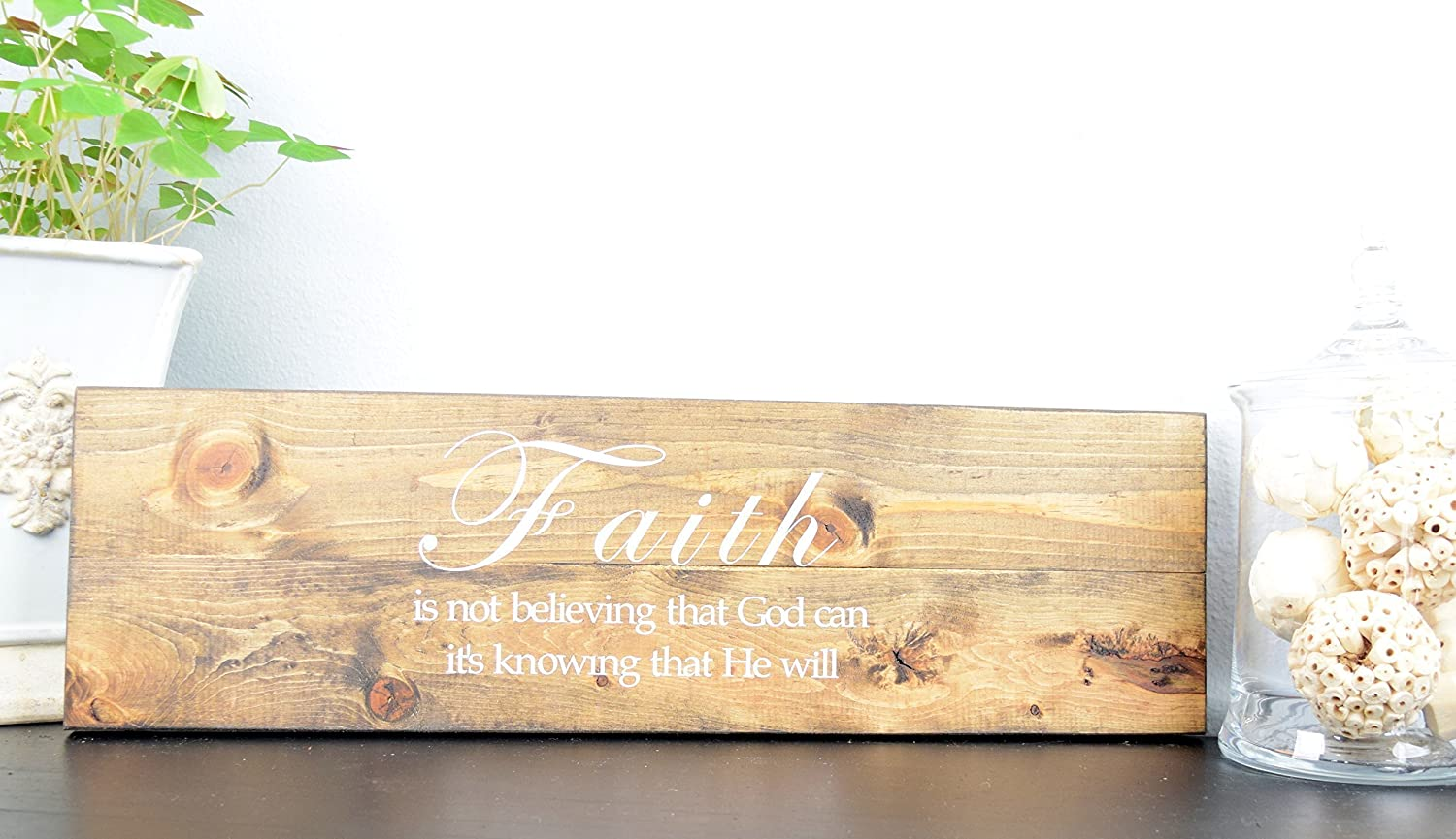 Amazon.com: Faith Wood Sign - Christian Wall décor – Bible Verse ...