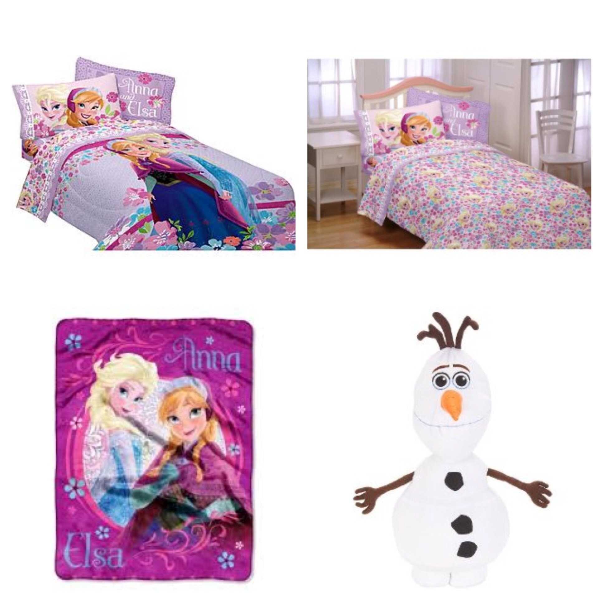 Disney Frozen Love Blooms Complete 6 Piece Twin Bed in a Bag - Comforter, 3 Piece Sheet Set, Loving Sisters Throw, Olaf Cuddle Pillow